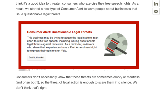 Yelp Issues Consumer Alert On Business Pages That Threaten Legal Action Against Reviewers