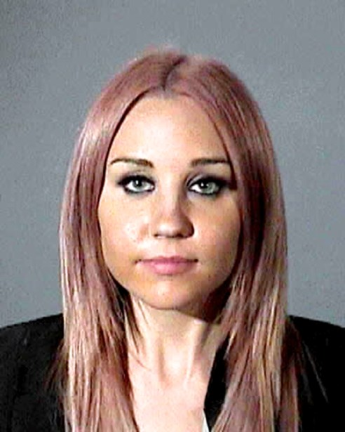 Hollywood actress Amanda Bynes poses for her mugshot after her arrest for allegedly driving under the influence in Hollywood.